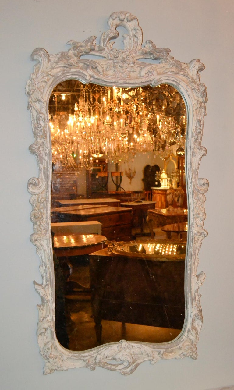 Italian Carved and Painted Wood Console and Mirror In Good Condition For Sale In Dallas, TX