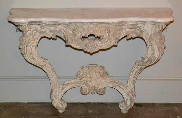 Mid-20th Century Italian Carved and Painted Wood Console and Mirror For Sale