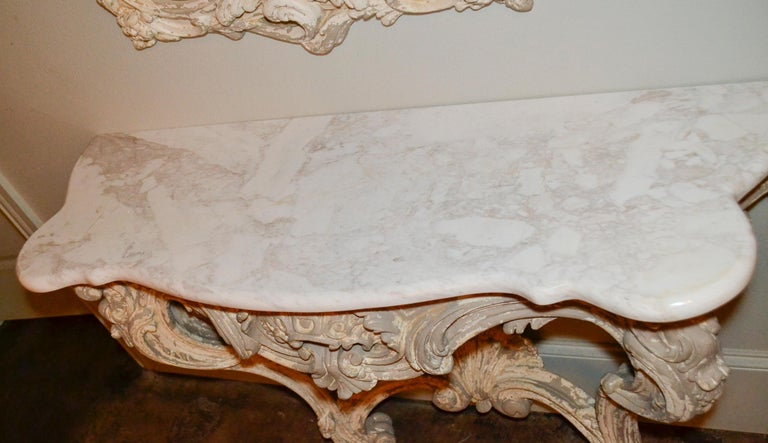 Marble Italian Carved and Painted Wood Console and Mirror For Sale