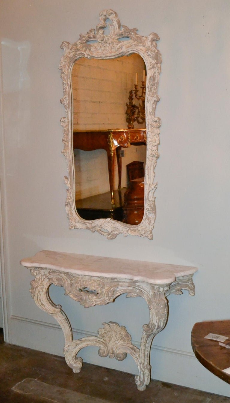 Italian Carved and Painted Wood Console and Mirror For Sale 1