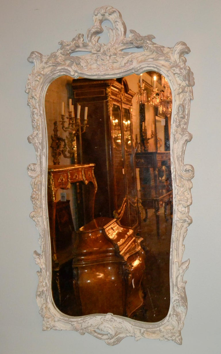 Italian Carved and Painted Wood Console and Mirror For Sale 2