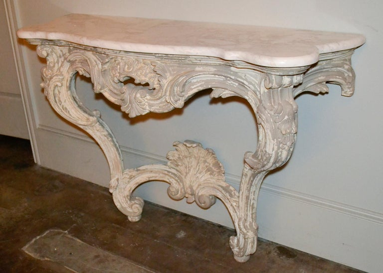 Italian Carved and Painted Wood Console and Mirror For Sale 3
