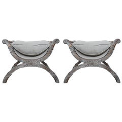 """Italian Carved Painted """"X"""" Style Benches, Pair"""