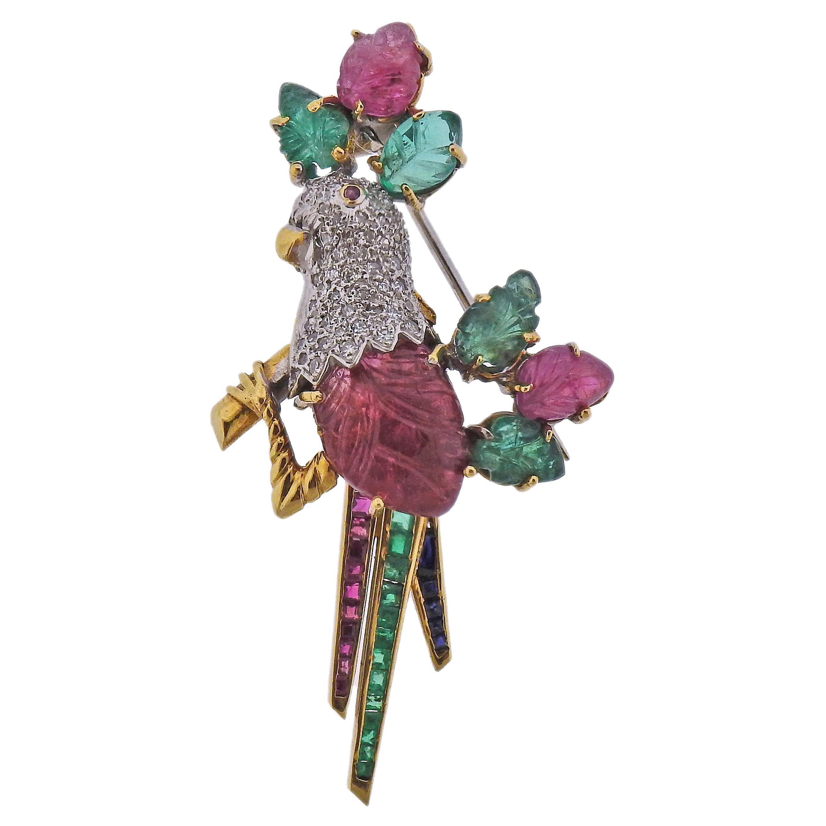 Italian Carved Ruby Emerald Diamond Gold Bird Brooch Pin