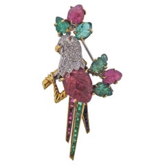 Italian Carved Ruby Emerald Diamond Gold Bird Brooch Pin