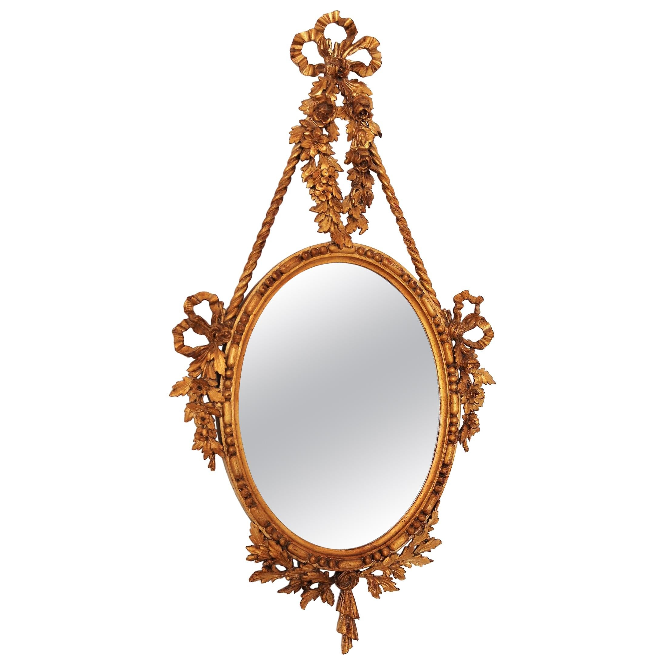 Italian Carved Wall Mirror with Gilt Wooden Frame, 1950s