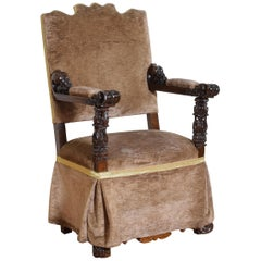 Italian Carved Walnut and Upholstered Poltrona, Early 18th Century