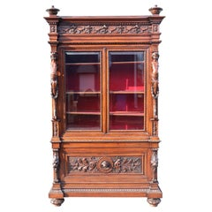 Italian Carved Walnut Cherub Lions Bookcase China Cabinet