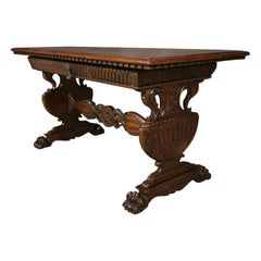 Italian Carved Walnut Desk