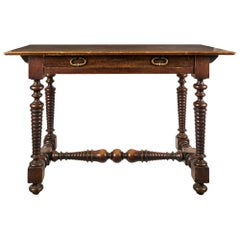 Italian Carved Walnut Desk Table, Italy 17th Century Baroque