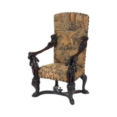Italian Carved Walnut Figural Armchair, 19th Century
