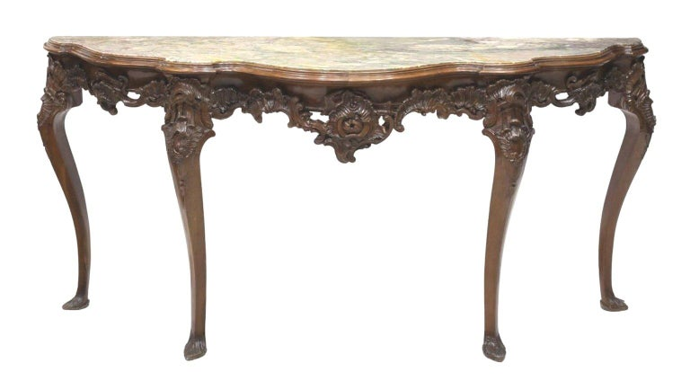 Italian Carved Walnut Long Console, 19th Century In Good Condition For Sale In Cypress, CA