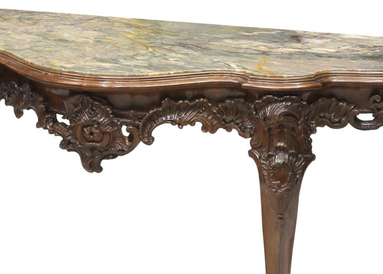 Marble Italian Carved Walnut Long Console, 19th Century For Sale