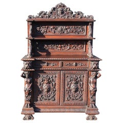 Italian Carved Walnut Man of the Mountain Sideboard Huntboard