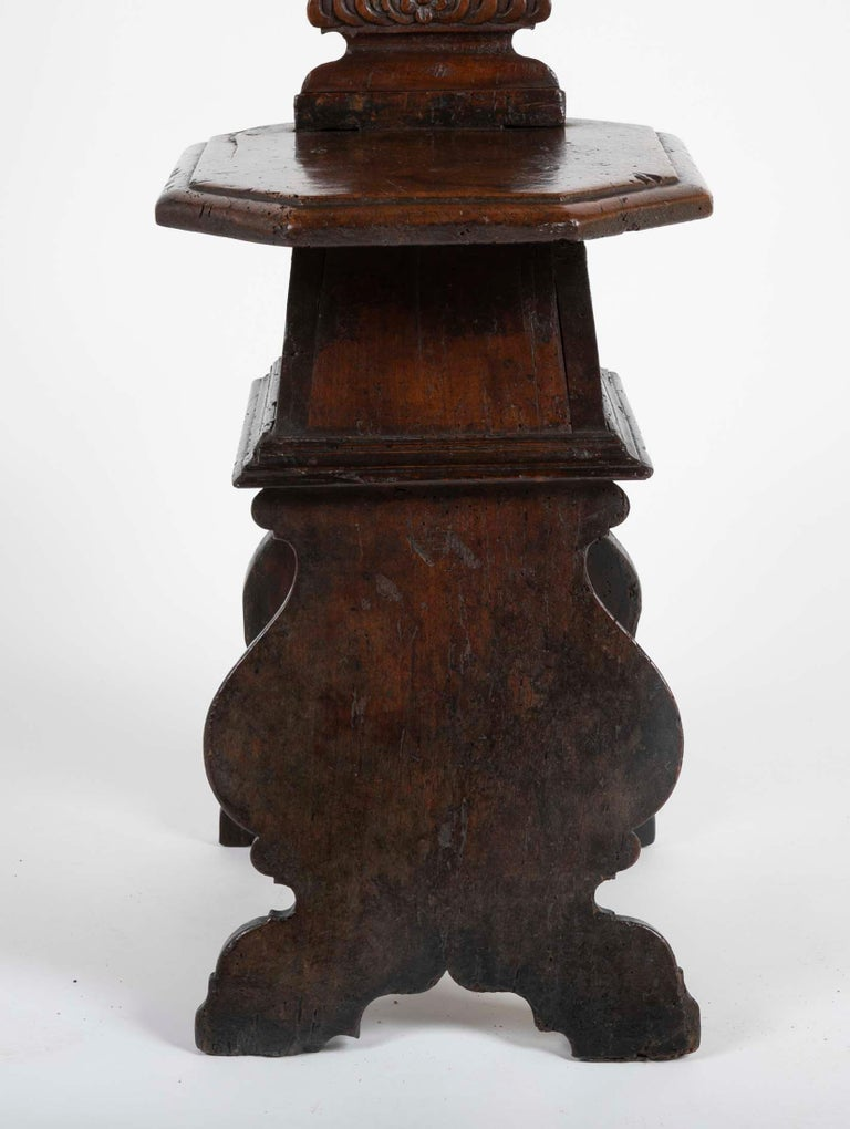 Hand-Carved Italian Carved Walnut Sgabello Side Chair For Sale