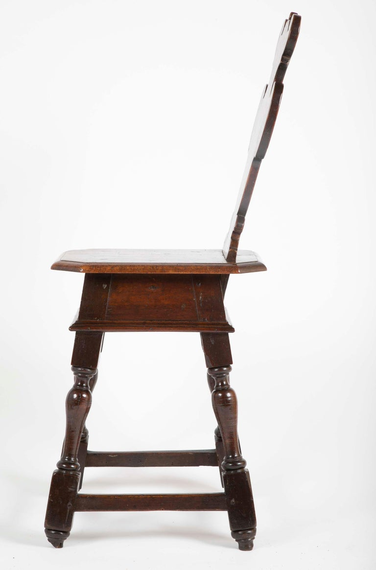 Italian Carved Walnut Sgabello Side Chair For Sale 1