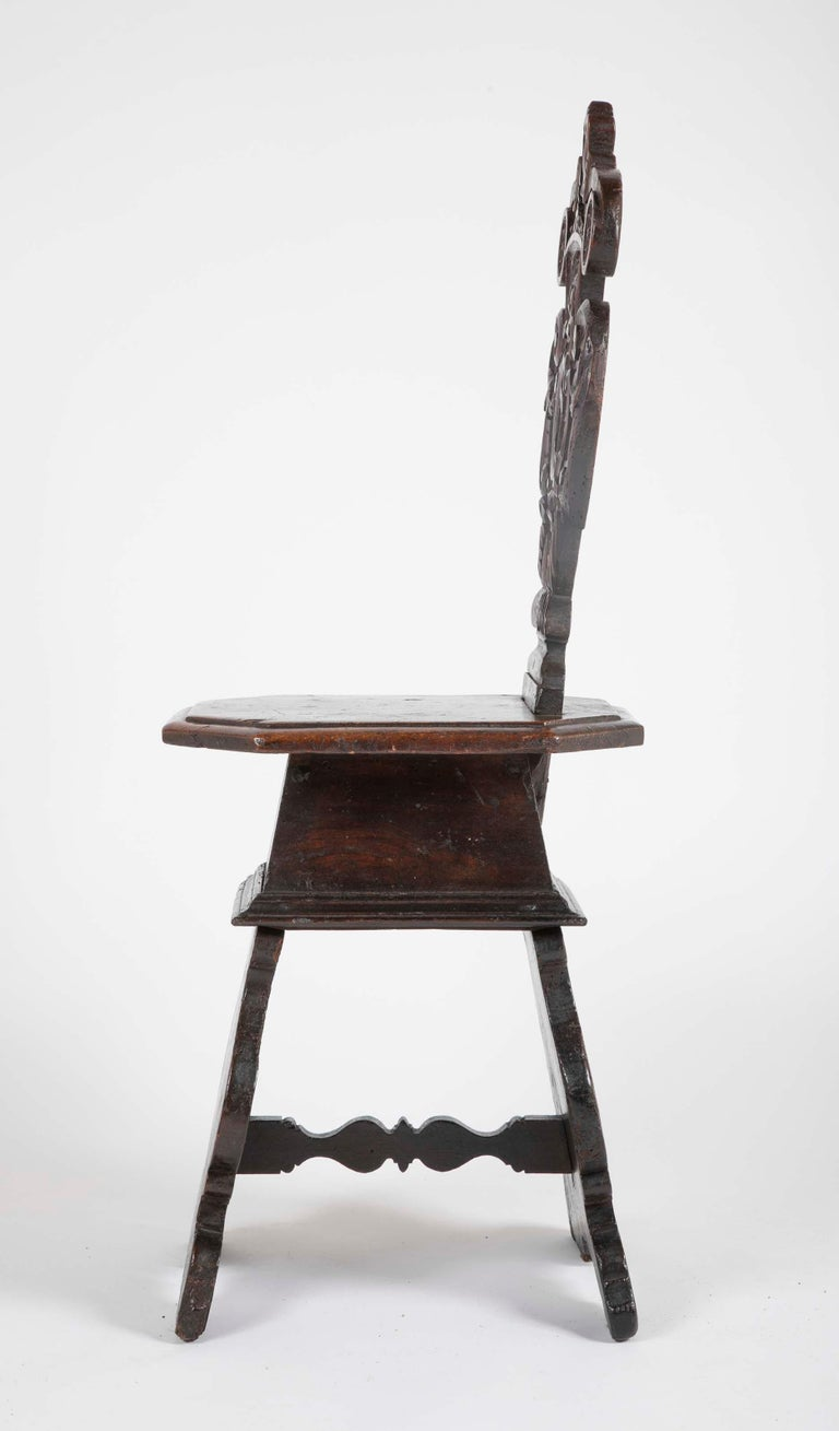 17th Century Italian Carved Walnut Sgabello Side Chair For Sale