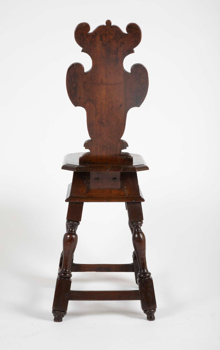 Italian Carved Walnut Sgabello Side Chair For Sale 2