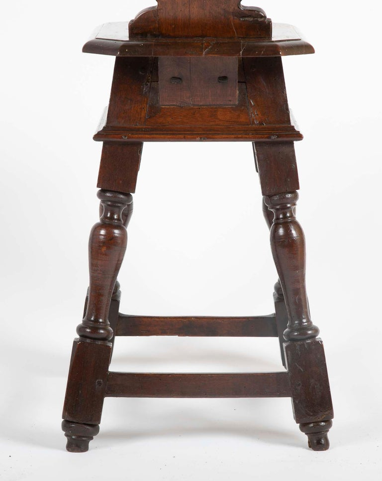 Italian Carved Walnut Sgabello Side Chair For Sale 3