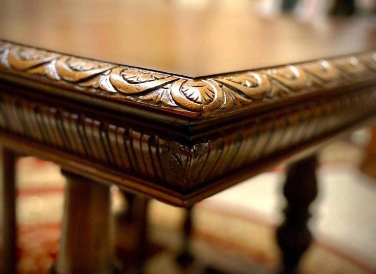 Italian Carved Renaissance Style Walnut Table