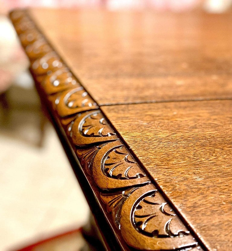 Hand-Carved Italian Carved Walnut Wood Renaissance Style Dining Center Table, 19th Century  For Sale