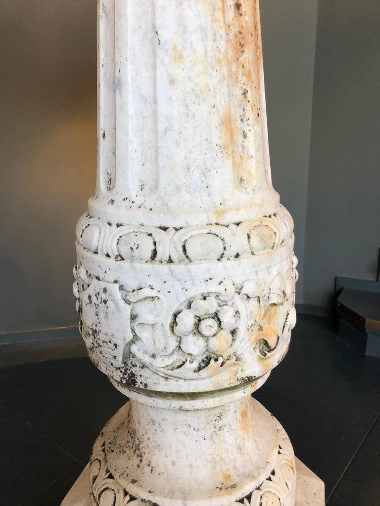 Italian Carved White Carrara Marble Fountain, 19th Century For Sale 2