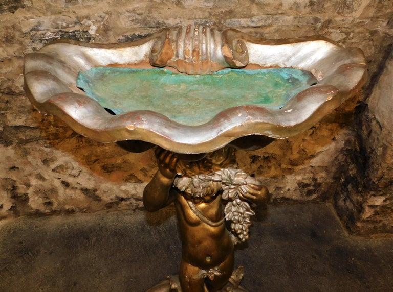 Italian Carved Wood Cherub Grotto Figural Bird Bath