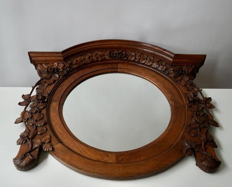 Hollywood Regency Italian Carved Wood Mirror For Sale