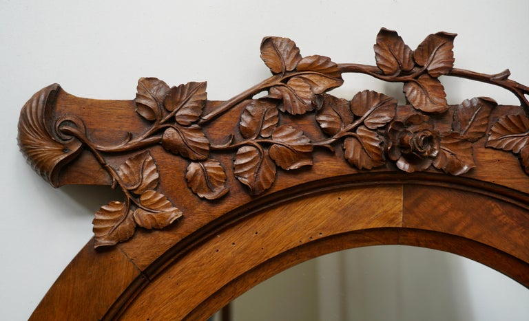 Belgian Italian Carved Wood Mirror For Sale