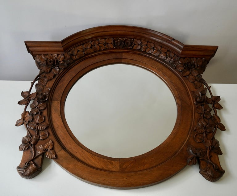 Hand-Carved Italian Carved Wood Mirror For Sale
