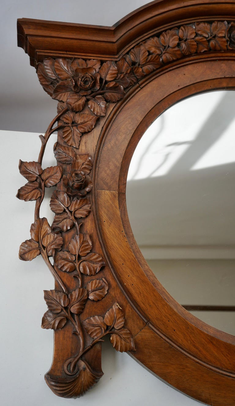Italian Carved Wood Mirror In Good Condition For Sale In Antwerp, BE