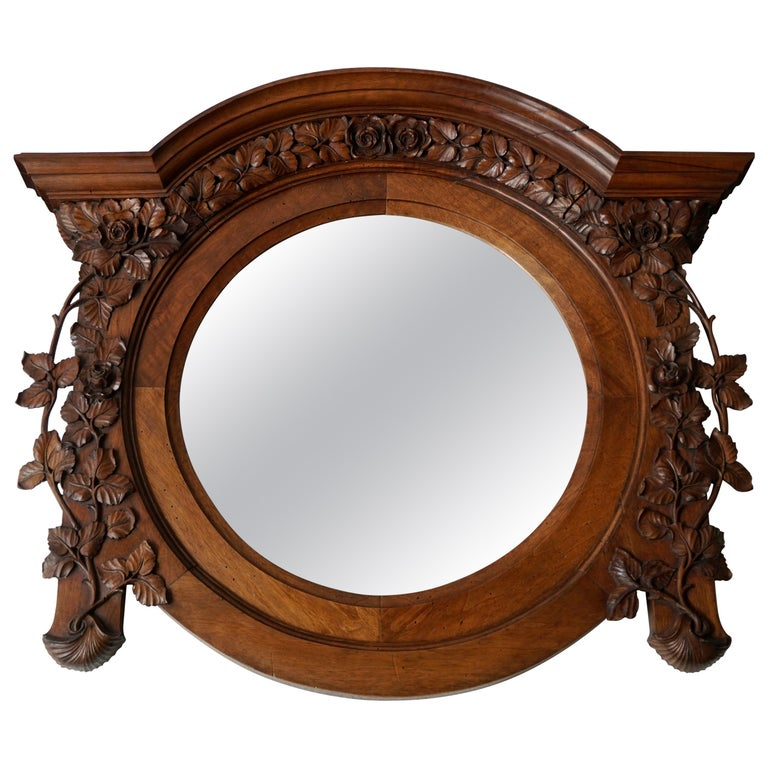 Italian Carved Wood Mirror For Sale