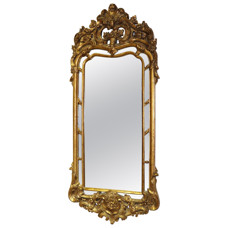 Italian Carved Wood Rococo Gilded Narrow Wall Mirror, circa 1950