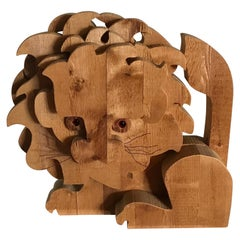 Italian Carved Wood Sculpture of a Lion
