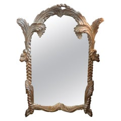 Italian Carved Wood Silver Gilt Mirror Inspired by Serge Roche