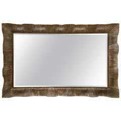 Italian Carved Wood Silver Leaf Framed Mirror by Arte Legno, 1980s