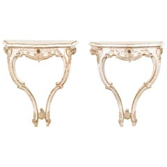Italian Carved Wood Wall Mounted Display Console Tables with Single Drawer, Pair