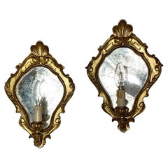 Italian Carved Wooden, Foxed Glass Mirror Wall Lights