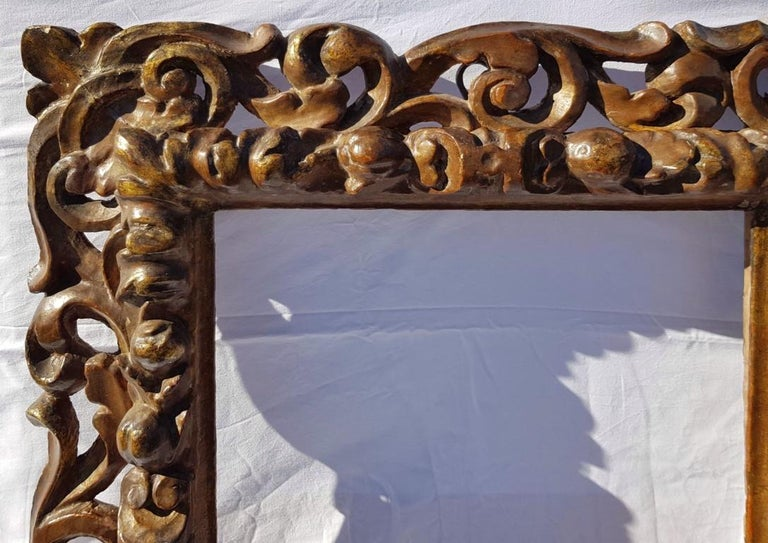 Hand-Carved Italian Carved Wooden Frame, Italy, 17th Century, Florence Baroque Mirror For Sale
