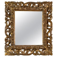 Italian Carved Wooden Frame, Italy, 17th Century, Florence Baroque Mirror