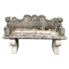 Italian Cast Marble Rococo High-Backed Bench with Arms