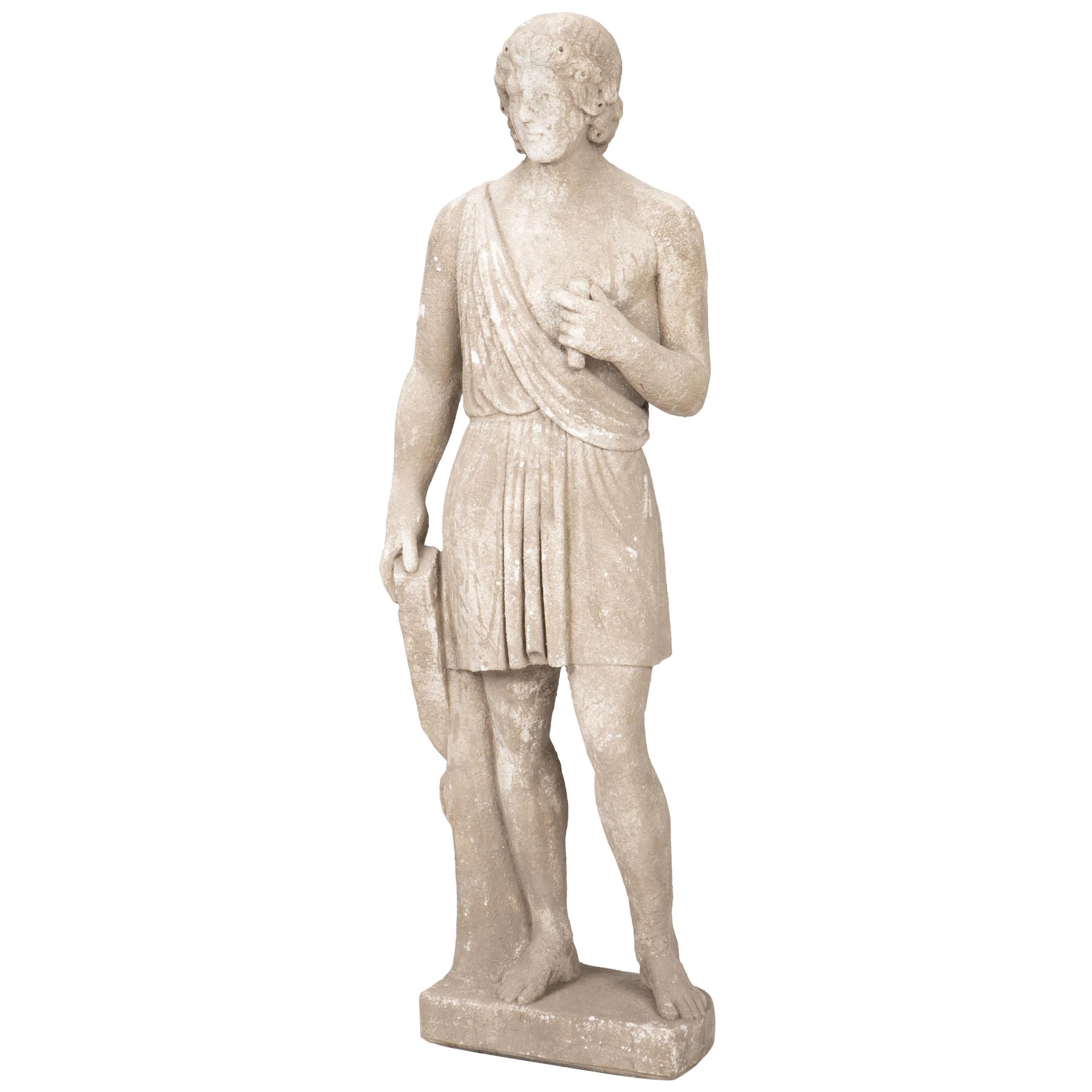 Italian Cast Stone Standing Sculpture of Roman