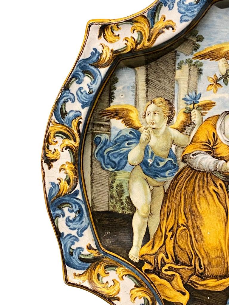 Baroque Italian Castelli Majolica Plate For Sale