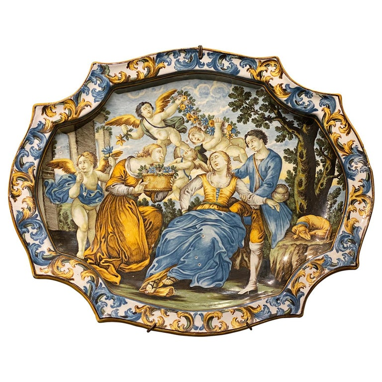 Italian Castelli Majolica Plate For Sale
