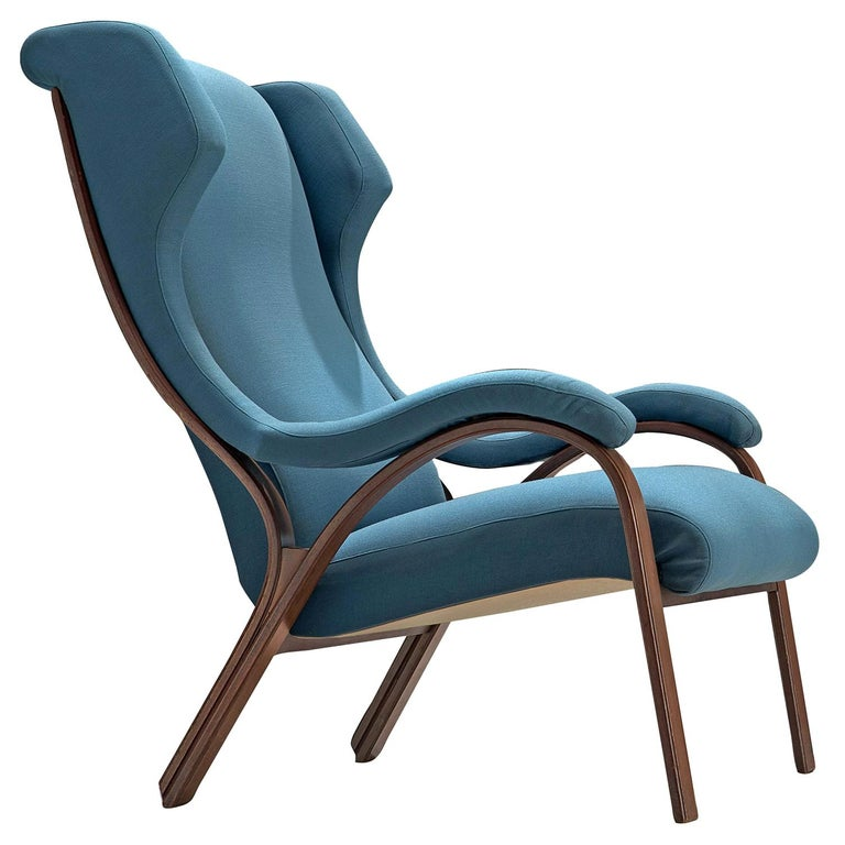 Italian 'Cavour' Armchair in Petrol Fabric by Gregotti, Meneghetti & Stoppino For Sale
