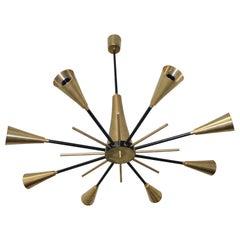 Italian Ceiling Lamp 1950s Brass in the Style of Stilnovo
