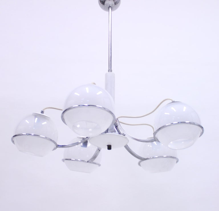 Five light ceiling light attributed to Gino Sarfatti, from the 1960s. Chrome frame with white opaline glass shades. Good vintage condition, ware consistent with age and use.