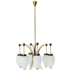 Italian Ceiling Lamp in Brass, Metal and Opaline Glass, 1960s