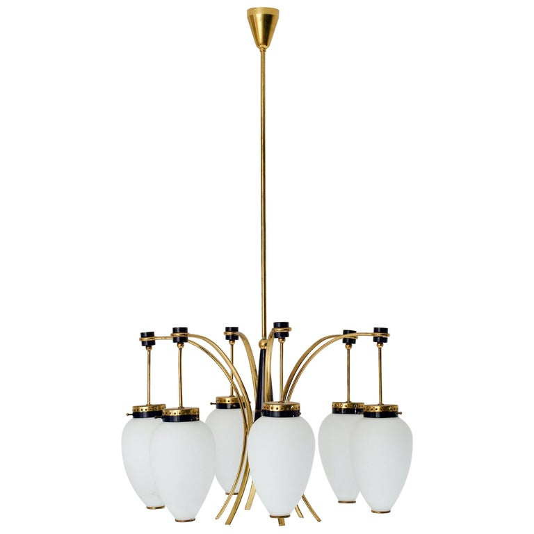 Italian Ceiling Lamp in Brass, Metal and Opaline Glass, 1960s For Sale