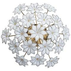 Italian Ceiling Lamp White Flowers Murano Glass Gold-Plated, 1970s